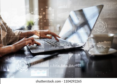 Business process, workflow graphs, charts  and icons on virtual screen. Modern computer and automation technology concept.