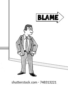 Business or professional cartoon illustration showing a determined business man headed toward 'blame'.
