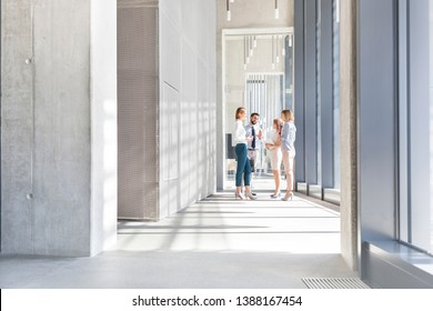 Business professionals planning while standing in corridor at office