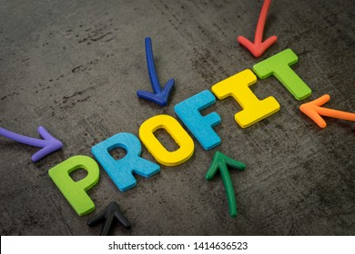 Business profit, success in investment or company revenue more than expense concept, multi color arrows pointing to the word PROFIT at the center of black cement chalkboard wall.