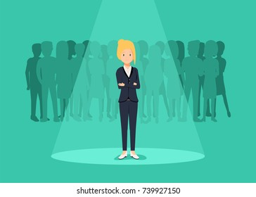 Business recruitment or hiring concept. Looking for talent. Businesswoman standing in spotlight or searchlight looking for new career opportunities illustration.