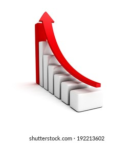 Business red growing bar graph with rising arrow. 3d render illustration