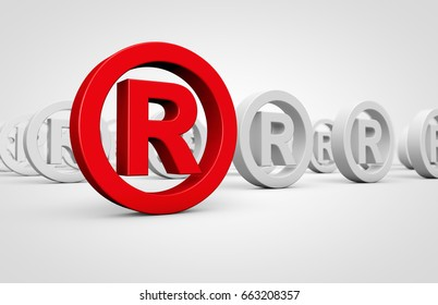 Business registered trademark concept with red icon and many others mark symbol on background 3D illustration.