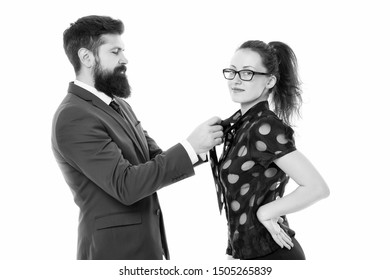 Business relations. Help each other look perfect. Business partners man and woman adjust outfit before business conference or meeting. Boss and attractive lady assistant white background. Last detail.