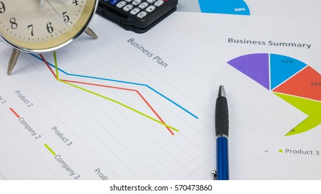 business report or Financial paper with notebook in business concept.