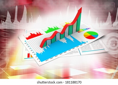 Business report and growth graph