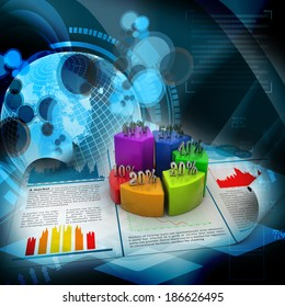 Business report and pie chart with growth percentage