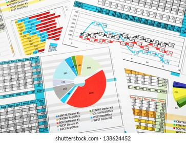 Business Reports in Color Charts and Diagrams