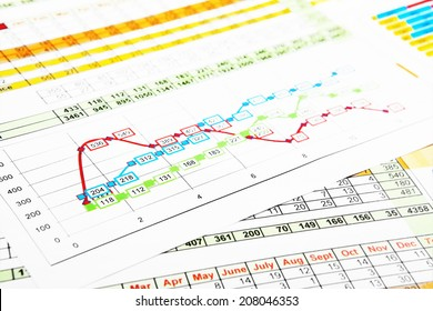 Business Reports in Multicolor Graph and Figures