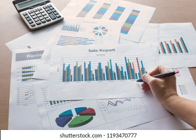 Business reports that are made up of graphs, including pie charts, bar graphs, and line graphs. To provide an explanation of the performance, the meeting, the presentation, the information, the brains