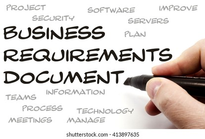 Business Requirements Document being hand written with great terms such as plan, servers and more.