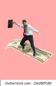 Business. Right way for investment. A man surfing on the dollar as on the board in ocean against coral background. Modern design. Contemporary art collage. Concept of finance, investation, economics.