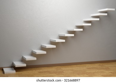 Business rise, forward achievement, progress way, success and hope creative concept: Ascending stairs of rising staircase in empty room with parquet floor and plinth 3d illustration
