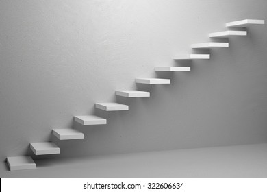Business rise, forward achievement, progress way, success and hope creative concept: Ascending stairs of rising staircase in white empty room 3d illustration