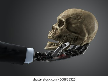 Business robotic arm holding human skull. Artificial intelligence concept