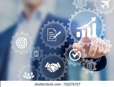 Business robotic process automation concept with icons of management, hiring workflow, document validation, information in connected gear cogs, businessman touching screen