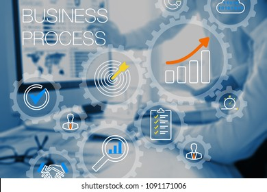 Business robotic process automation and technology concept with gears system or workflow and consultant team working on computer in office in background, automated ERP management, CRM or financial