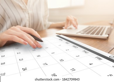 Business Scheduling. Unrecognizable Woman Working On Laptop And Checking Calendar At Workplace, Taking Notes To Planner, Managing Times For Appointments, Setting Events In Organizer, Creative Collage