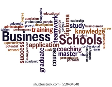 Business Schools, word cloud concept on white background.