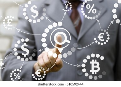 Business search concept magnifier loupe icon navigation currency dollar eur bitcoin network. Tradiing exchange banking  finance technology.