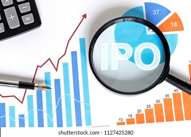 Business search ipo Initial Public Offering chart diagram on virtual digital electronic user interface