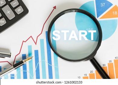 Business search start magnifier web chart.