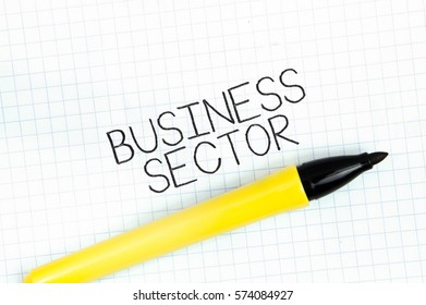 BUSINESS SECTOR concept write text on notebook