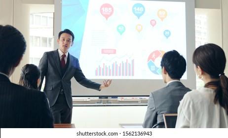 Business seminar concept. Seminar room. Lecturer.