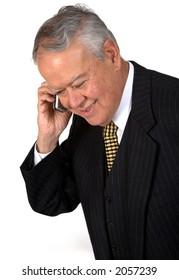 business senior on the phone over white