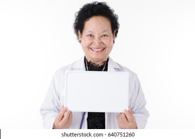 Business Senior woman holding signboard over white background