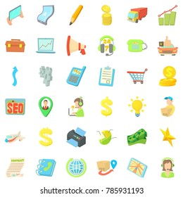 Business seo icons set. Cartoon style of 36 business seo  icons for web isolated on white background