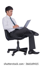 Business seriously think that sitting in the chair  handles  business people wearing suits, elegant and tie isolated over a white background.