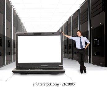 business servers made in 3d with their manager and a laptop in front - space on the laptop screen for you to put your message