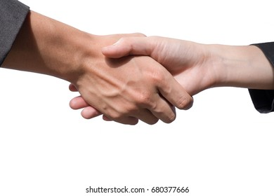 Business shake hand on isolated background.