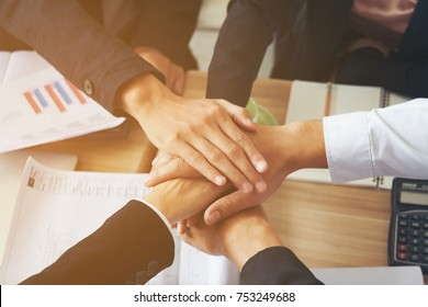 business shake hands showing Trustworthy team work .Managing small businesses with incentives to work as a system incorporating a strong network. Lead to a successful business.hands together concept