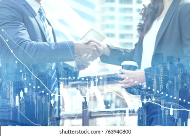 business shake hands showing Trustworthy team work . Managing small businesses with incentives to work as a system incorporating a strong network. Lead to a successful business.partnership concept