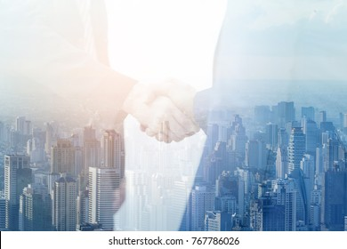 Business Shake Hands Showing Trustworthy TeamWork .Managing small Businesses with Incentives to Work as a System Incorporating a Strong Network. Lead to a SUccessful Business.team Vistion Mision
