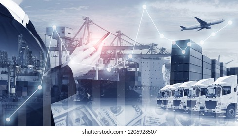 Business shipping industry logistics multiple exposure financial background.