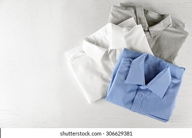 Business shirts on white table