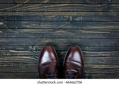 Business shoes on wooden floor