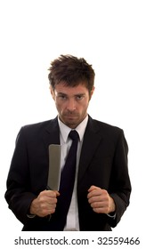 business showing the stress of life with a meat cleaver