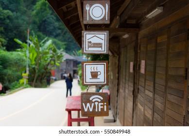 Business sign for homestay, resort, hotel