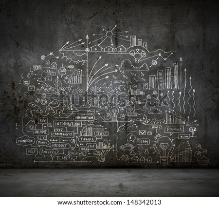 Business Sketch Ideas Against Dark Wall Stock Photo Edit Now