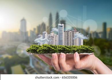 Business Smart City Konzept für Wachstum und Erfolg mit Ihrer Technologie.