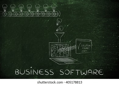 business software: machine processing ideas and data into solutions, with production line, funnel and laptop