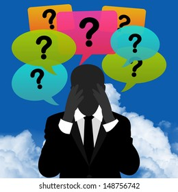 Business Solution Concept Present By A Worried Businessman With Group of Colorful Question Mark Balloon Above in Blue Sky Background