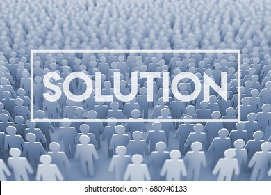 Business solution. Large group of stick figure people. 3D Rendering