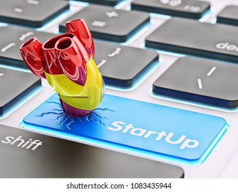 Business startup failure concept, broken rocket on a blue computer keyboard key button, 3d illustration