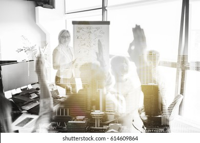 business, startup, presentation, strategy and people concept - woman showing scheme on flipboard to creative team at office over urban double exposure effect