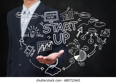 business, startup, presentation, strategy and people concept - business man in suit with startup diagram sketch popup from hand with light effect